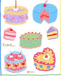 """좋아요 16개, 댓글 1개 - Instagram의 inn(@innstuff)님: """"Cake 1🎂 #inn #innstuff"""" Printable Stickers, Cute Stickers, Korean Stickers, Arte Horror, Journal Stickers, Aesthetic Stickers, Kawaii Art, Cute Icons, Food Illustrations"""