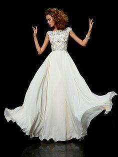 Flamboyant A Line High Scoop Neck Floor Length Ivory Chiffon Beading Dress Modest dress love! Flamboyant A Line High Scoop Neck Floor Length Ivory Chiffon Beading Dress Prom Dresses 2016, Cheap Prom Dresses, Modest Dresses, Wedding Party Dresses, Satin Dresses, Pretty Dresses, Beautiful Dresses, Formal Dresses, Modest Wedding