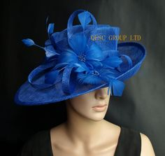 Cobalt Royal blue Sinamay Hat formal dress hat with feathers flower for  kentucky derby.wedding b00a1d3cc282