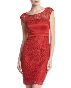 Scalloped Cap-Sleeve Lace Dress by JAX at Last Call by Neiman Marcus.