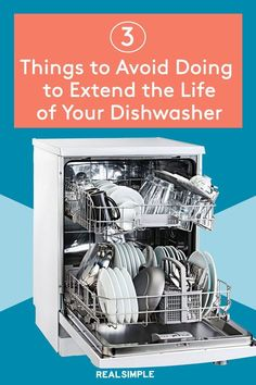 5 Things You Can Do to Extend the Life of Your Dishwasher | The appliance pros at Maytag and Samsung share their best advice on how to maintain a dishwasher. Follow these pro-approved dos and don'ts, so your dishwasher continues performing at its peak. #organizationtips #realsimple #howtoclean #cleaningtips #cleaninghacks Clean Dishwasher, Laundry Hacks, Cook At Home, Tidy Up, Stick It Out, Real Simple, 5 Things, Good Advice