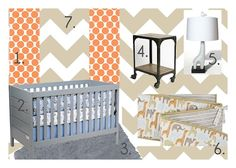 Design board for a boy nursery on a budget. #baby #nursery #chevron