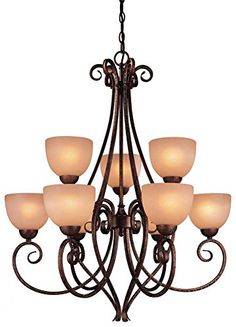 Width: 29.75in, Height: 35.00in. Golden Bronze 9 Light 2 Tier Chandelier from the Caspian Collection Model-729-355 Minka http://www.amazon.com/dp/B00Q3KB3ZC/ref=cm_sw_r_pi_dp_suu0ub0X32M78