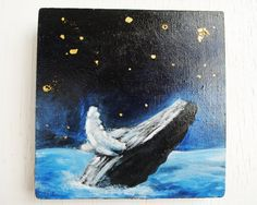 Humpback Whale  Original Oil Painting with Gilded by SorchaMoon