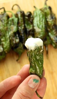 Blistered Shishito Peppers with Whipped Lemon Goat Cheese Appetizer Dips, Appetizers For Party, Appetizer Recipes, Shisito Peppers, Tapas, Whipped Goat Cheese, Padron, Goat Cheese Recipes, Stuffed Sweet Peppers
