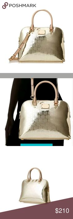 """Michael Kors Cindy Large Dome Color:?PALE GOLD   Product Details  13"""" W x 9-1/2"""" H x 4-1/2"""" DInterior features 1 zip pocket, 3 open pockets, 1 cellphone pocket and key fobExterior features gold-tone hardware and signature letteringDouble handles with 5"""" drop; adjustable strap with 17""""-19"""" dropTop zip closure  No trade Michael Kors Bags Satchels"""