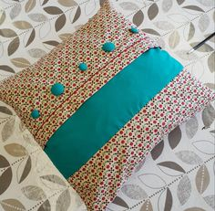 Beautiful Cushion with Cherry print fabric and self covered buttons and topstitch detail - made during the 1 day introduction to Sewing Class.  #EdinburghSewingClasses #SewingClassesEdinburgh #LearntoSew #Cushion #Sew