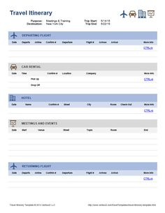 Travel Itinerary | Office Templates | Pinterest | Travel itinerary ...