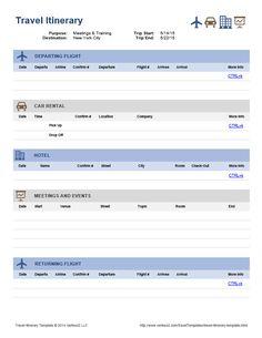 Travel Itinerary | Office Templates | Pinterest | Travel itinerary ...