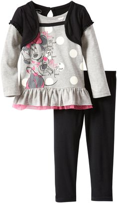 Disney Little Girls' Toddler Minnie Mouse 2 Piece Bow Shirt and Pant, Gray, 3T. Gray long sleeve minnie mouse shirt. Black knit pants.