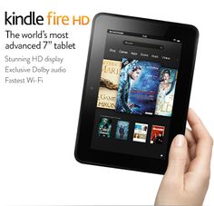 """Kindle Fire HD, 7"""".    High Definition Touchscreen Display  Rich, HD video. Beautiful, vivid photos. Crisp, detailed text. Kindle Fire HD features a new 1280x800 high definition LCD display that brings your content to life.  Reduced Screen Glare  Most tablet displays are made up of two pieces of glass - an LCD on the bottom and a touch sensor on the top, separated by an air gap. This air gap allows light to come through the touch sensor and reflect off the LCD, causing added glare for the…"""