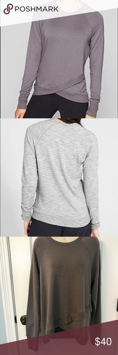 NWT Athleta Criss Cross Sweatshirt! 😍😍 NWT Athleta Criss Cross Sweatshirt! 😍😍.  I have several of these sweatshirts and they are the softest sweatshirts you will ever put on!  Beyond soft French Terry fabric, breathable and lightweight, tulip edge front hem, layers perfectly over your favorite tights.  Softness by Edelweiss fiber technology.  See tags for more details!   This shirt is the same color as the first picture shown on the model! 😀 Athleta Tops Sweatshirts & Hoodies