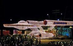 U.S.S. Enterprise in Christmas lights ...