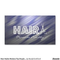 Hair Stylist Modern Tan Purple Hair Black & White Double-Sided Standard Business Cards (Pack Of Rv Upgrades, Hairstylist Business Cards, Custom Business Cards, Purple Hair, Black Hair, Florida, Neon Signs, Black And White, Tips