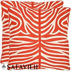 Tiger Stripes 22-inch Embroidered Orange Decorative Pillows (Set of 2)