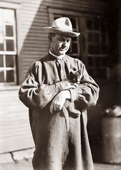 Calvin Coolidge with his cat.
