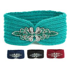 NISHAER Women's Narrow Embellishment Knitted Winter Hair Headband, Blue, One size at Amazon Women's Clothing store: