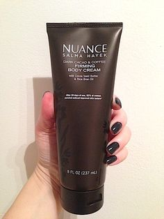 Skincare Review, Ingredients, Swatches: NUANCE Salma Hayek Dark Cacao & Coffee Firming Body Cream