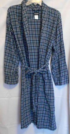 Joe Boxer Blue Plaid Flannel Robe Size Medium Pockets Tie Belt Men or Woman