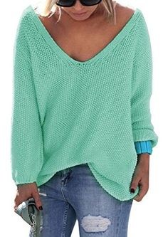 Nulibenna Women's Casual Autumn Thin V Neck Knit Pullover Solid Sweater