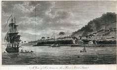 Freetown, Sierra Leone in 1798 as drawn by William Augustus Bowles, a visiting Creek Indian leader. Canadian History, American History, Sloop Of War, Crown Colony, Life Pictures, Royal Navy, American Revolution, American Civil War, West Africa