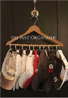 A DIY helpful project! Store those ball caps easily with this neat idea...