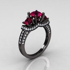 French 14k Black Gold Three Stone Raspberry Red Garnet Diamond Wedding Ring Engagement R182 14kbgdrg