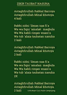 Zikir taubat nasuha *Do you know what 'Taubat Nasuha' means? Pray Quotes, Quran Quotes Inspirational, Words Quotes, Motivational Quotes, Life Quotes, Hijrah Islam, Doa Islam, Reminder Quotes, Self Reminder