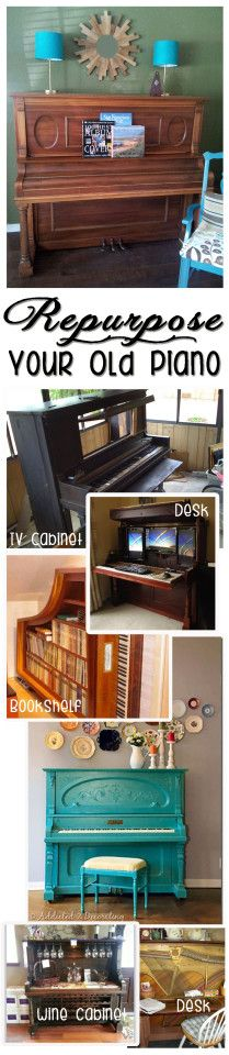Great ideas for re-purposing an old piano.