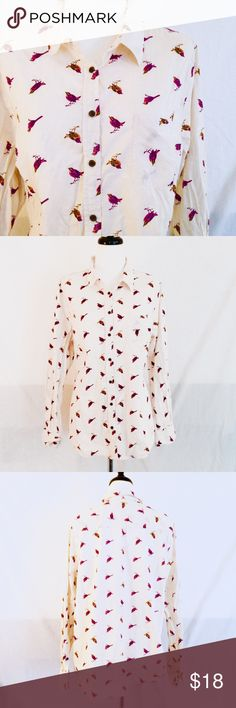 "Bird Printed Button Up Blouse Adorable white button up long sleeve collared shirt with purple and orange bird print. By Merona. Size XXL. 100% cotton. Chest measures 46"". Length 28"". Sleeve 29"". Good pre-owned condition with no holes, rips, or stains.  KWs: indie, retro, work chic, hipster, birds, birdie, torrid, plus size, urban, trendy, tumblr, blogger, mod, vintage vibes, rockabilly, pinup Merona Tops Button Down Shirts"