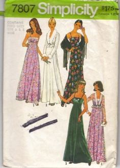 Vintage 70s Spaghetti Strp Maxi Prom Formal Evening Dress Unlined Jacket Sewing Pattern Simplicity 7807 B36, this was my prom dress in 1977