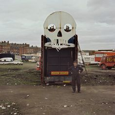 Francis Craven on Woodhouse Moor, Leeds in April 1979. He'd built this apparition himself but was having trouble with its arms – the pulleys had given out