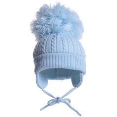 5a148840faf Blue  Twine  Cable Knit Hat with Giant Pom-Pom