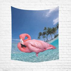 "Flamingo and Palms Cotton Linen Wall Tapestry 51""x 60"""