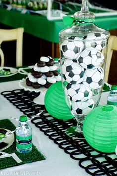soccer party {Paisley Petal Events}: apothecary jar with foam soccer ball favors & two dessert towers--mini doughnuts and Oreos Soccer Birthday Parties, Soccer Party, Soccer Ball, Sports Party, Birthday Cake, Soccer Centerpieces, Centerpiece Ideas, Banquet Decorations, Soccer Banquet