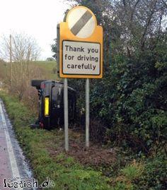Danke für vorsichtiges Fahren