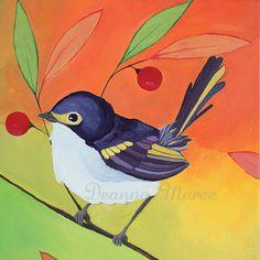 Bird  Painting - Original Acrylic on 6x6 Canvas - An Endless Song No. 4a. $85.00, via Etsy.