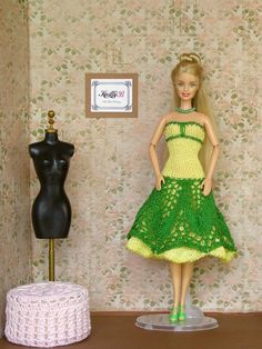 12 inch flower girl dress, Knit lace dress and green shoes for Barbie doll, Exclusive gift for collector, Unique birthday present