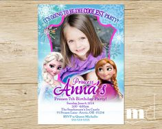 Frozen Birthday Party Invitation with Photo - PRINTABLE Digital File - Pink, Purple, Blue Princess - Disney Frozen Movie, Elsa & Anna on Etsy, $6.00