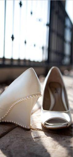 Ivory Pearl Bridal Wedges ~ Photo: Studio Capture #wedding #shoe