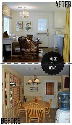House to home makeover. Outdated and dingy converted to cozy, vintage comfort. This eat in dining space was transformed to a sitting area. www.huntandhost.