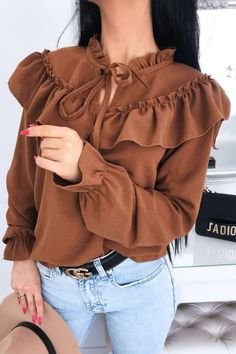 Women Brown Tied Ruffles Trim Long Sleeve Casual Blouse - S Girls Fashion Clothes, Teen Fashion Outfits, Fashion Dresses, Muslim Fashion, Hijab Fashion, Stylish Dresses For Girls, Ladies Dresses, Sleeves Designs For Dresses, Looks Chic