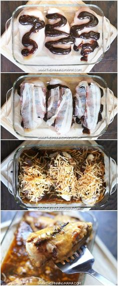 EASY BARBECUE BACON CHICKEN BAKE - Bacon, BBQ sauce & cheddar cheese baked on top of chicken. | #ChickenBake #ChickenDinner #Chicken #Yummy #DinnerRecipes #ChickenRecipes