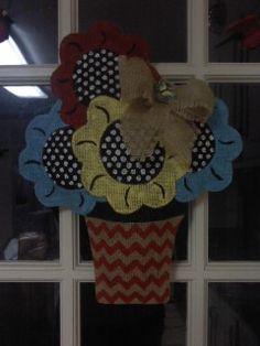 Flower burlap door hanger