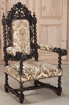 Antique northwind face barrel chair circa late 1800 for Baroque furniture usa