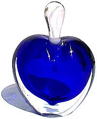 Image Detail for - . Foundry and Forge -- Dark Blue Art Glass Heart Shaped Perfume Bottle