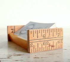 repurposed ruler turned business card holder ... cute!