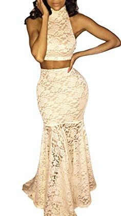 Snow Lotus Womens High Collar Lace Twopiece Mermaid Tail Ball Gown * For more information, visit image link.