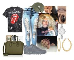 the rolling stones by rosemarieramz on Polyvore featuring polyvore fashion style NIKE Givenchy Kate Spade Fragments clothing rippedjeans nike badass