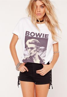 Bowie Photographic T Shirt White - Missguided